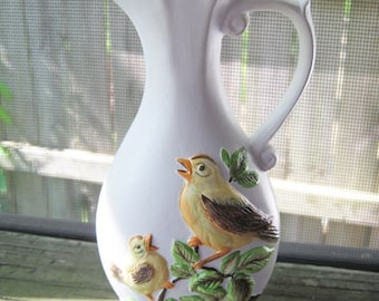 White Ceramic Pitcher With Yellow Birds, Hand Painted, Hand Made 1977, Small Pitcher, Home Decor