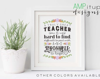 Printable Teacher Gift - A Great Teacher is Hard to Find - Teacher Gift - Teacher Appreciation - Gift for Teacher - End of the Year Teacher
