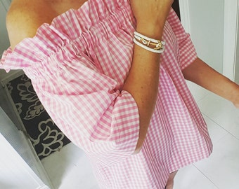 Women's top the Derby top in pink gingham small & medium left off the shoulder top custom made by Collyn Raye