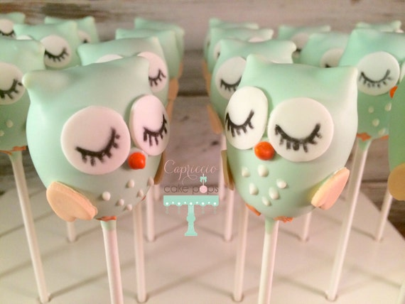 Items similar to Baby shower favors, Baby Owl cake pops on ...