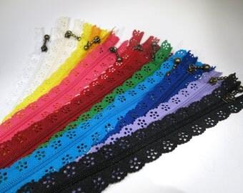 SET! 12pc zipper 40cm / 16inch mixed colors lace closed end (ZSET40)