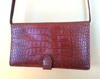Vintage Liz Claiborne Croc Embossed Brown Leather Handbag