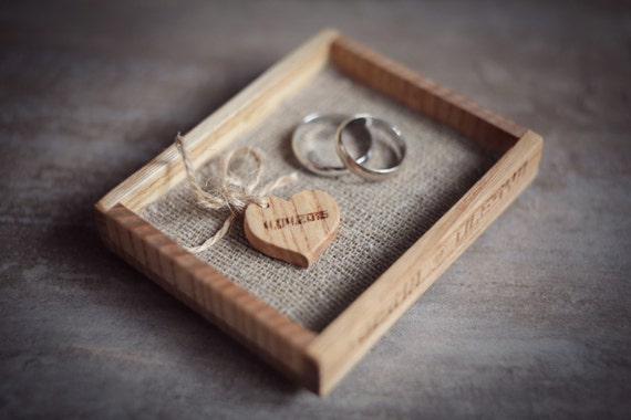 Wedding ring holder. Wood ring bearer pillows. Mini wood tray for wedding rings. Personalized rustic ring holder.  Engraving. Wedding gift.
