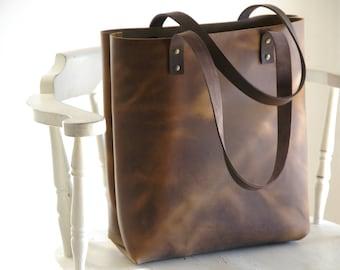 Brown Distressed Leather Tote. Cap de Creus Bag. Handmade