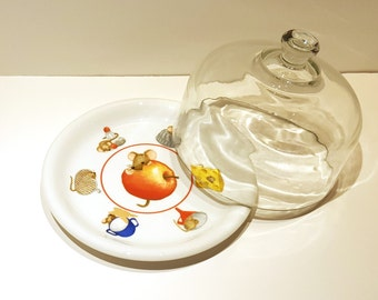 Helmut Spanner Cheese Dome, Mouse in the Kitchen, Mouse Cheese Dome, Porcelain Cheese Dome, Arzberg Germany