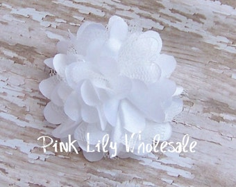 TWO Mini Satin Mesh Flowers - TWO White - Small Flower - Craft Flower - Wholesale Flower - Craft Supplies -DIY
