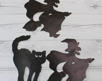 Vintage Lot of 3 Paper Die Cut Halloween Black Cat and Witch Wall Hangings, Vintage Halloween Die Cut Decoration