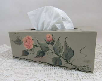 Vintage Hand Painted Tissue Box Cottage Chic Roses Wood Tissue Box Dianne Kennedy
