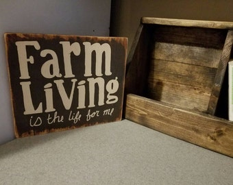 Unique Farm Living Is The Life For Me Primitive Rustic Hand Crafted Country Sign Wood Wall Hanging Home Decor