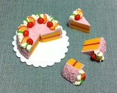 Full Sliced Cake 8 Slices Miniature Clay Polymer Food Supplies Pink Fruits Cute Tiny Small Display Paper Pastry Decor Dollhouse Jewelry 1/12