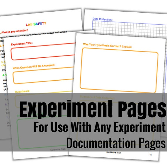 Science Experiment Documentation Pages - Black & White and Rainbow Versions