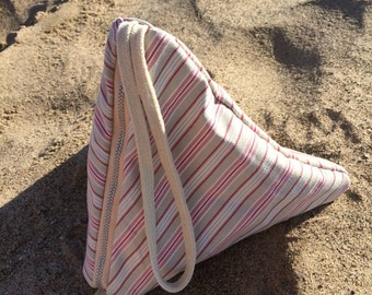 Pink stripe cotton triangle purse - origami clutch