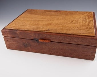 Walnut Valet Box with Hinged Oak Lid and maple tray