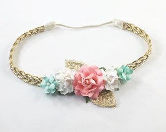 Coral Headband, Mint Headband, Gold Braided Headband, Boho Headband, Gold Headband, Coral Flower Headband, Coral flower girl Headband