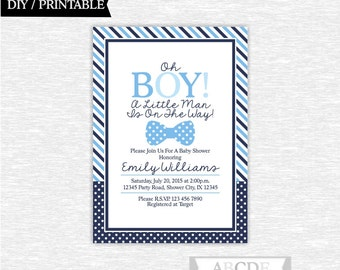 Blue, Navy Boy Baby Shower Invitation Little Man Baby Shower DIY Printable ( PDMSI201)