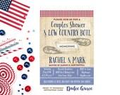 couples shower invitation, BBQ invite, low country boil, printable invite, rehearsal dinner, typography invite, digital invitation