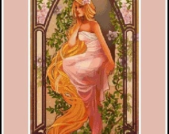 Beautiful Rapunzel - Artwork by Hannah Alexander - cross stitch pattern - PDF pattern - Instant download!