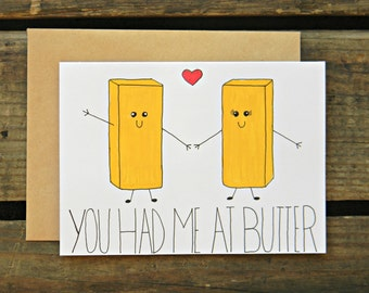 You Had Me At Butter- Anniversary/Love/Couples/Crossfit/Paleo/Fitness/Valentines Day Card