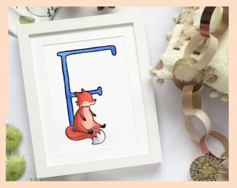 """F is for Fox. Alphabet print 8""""x10"""" mounted illustration"""