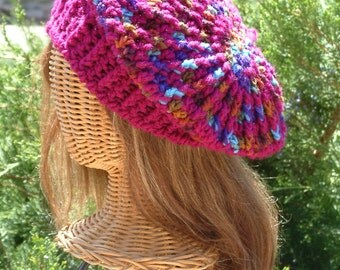 Hand Crocheted Beret with ribbing, original design, variegated colors on the crown, ending with Fuchsia around the brim. Unique Gift, OOAK