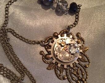 Steampunk Necklace, Jewelry, Women's Jewerly, Winged Flower, Steampunk Jewelry, Womens Necklace, Neo Victorian, Woman Gift Idea