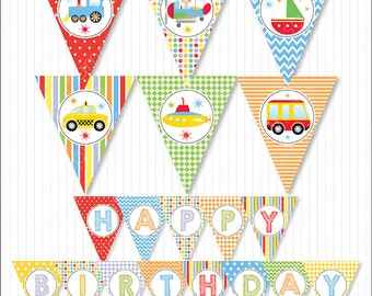 Transportation birthday banners, Transportation Bunting Flags, Transportation party, Digital Printable Banners, INSTANT DOWNLOAD