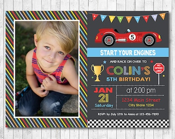 Race Car Birthday Invitation, Car Invite, Race Invitation, Racing Car Invite, vintage car race, photo invitation, printable