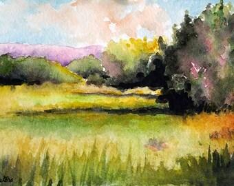 ORIGINAL Watercolor Painting, Impressionist Autumn  Watercolor Landscape, Autumn Art 4x6 inch
