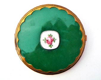 Foster Compact, Guiolloche Enamel, Art Deco, Enameled Rose, Green Enamel Compact, Lady's Compact, Art Deco Compact