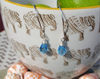 Light Blue Swarovski Crystal Earrings