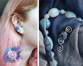"Ear cuff ""Blue rose"" | casual ear cuff, summer, flower jewelry, quasarshop, ear cuff flower, summer jewelry"