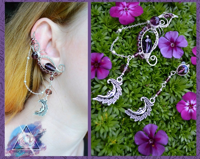 "Ear cuff ""Purple Moons"" 