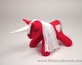 Miniature Red Felt Unicorn