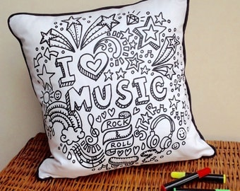 Music Cushion Design Doodle Art Fabric Permanent Pens Adult Colouring Fun Activity Colourful Design Both Sides Hours Of Fun