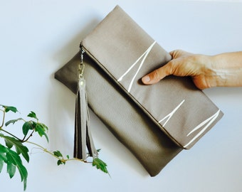 Foldover leather Clutch - Ethical Foldover Clutch Bag - Leather purse - Handmade in Australia - Leather Bag