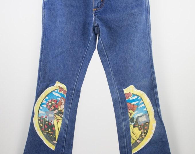 Vintage High Waist Jeans | 70s Bell Bottom Denim | Virgo Graphic | Size 25