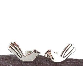 Love Bird Ear-studs, Silver bird jewellery love birds earrings studs soul mate gift ideas gifts for her birthday