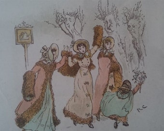 Antique Dancing Ladies Lithograph Print 1800's in Frame