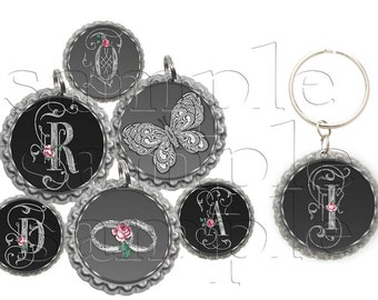 Silver Scroll Initial Bottle Cap Images, Clip Art,1 Inch Circles, Cupcake Toppers, Stickers,Buttons, Digital Download, DIY Printable