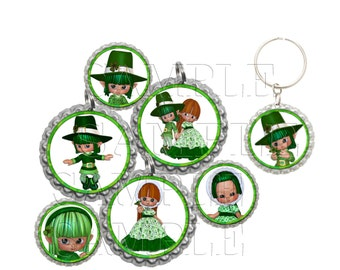 St. Patrick's Elves Bottle Caps,Clip Art,1 Inch Circles, Cupcake Toppers, Stickers, Digital Download, DIY Printable