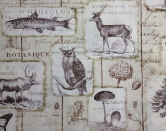 SALE - One Half Yard of  Fabric Material - Wildlife Collage