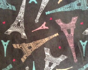 One Half Yard of Fabric Material - Eiffel Tower Paris FLANNEL