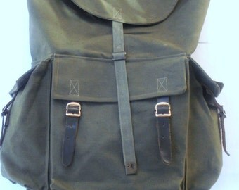 Vintage Big Military Canvas Backpack/ Green Yugoslavian Canvas Backpack/ Rucksack/ Hiking Bag/ Canvas(Leather) Straps/1980s