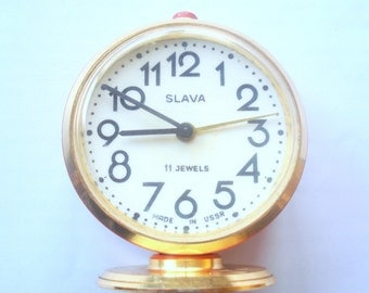 Vintage Soviet Slava Mechanical Alarm Clock , USSR Watch,  Mechanical clock,Full Working