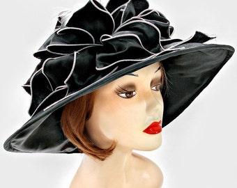 Black Sinamay Wedding Dress Hat Kentucky Derby Hat Women Wide Brim Church Hat New