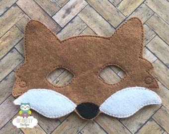 Fox Mask, Kids Dress Up Mask, Fox Costume Mask, Wool Blend Mask, Felt Fox Mask, Jungle Party Favor, Monkey Mask