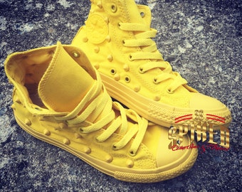 All yellow studded converse kids and adults
