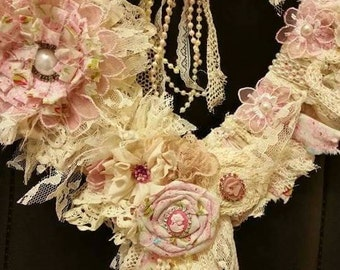 Tattered Shabby chic wreath rag, lace, vintage,  cottage pink, tea dyed