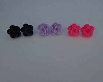 3 Pair of Rose Earrings, Hot Pink Rose Stud Earrings, Lavander Rose Earrings, Black Rose Earrings,Stud Earrings