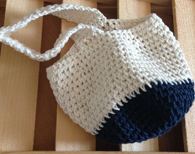 navy and white cotton crochet purse